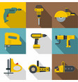 industrial tools icons set flat style vector image vector image