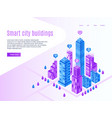 intelligent city buildings urban landing page vector image