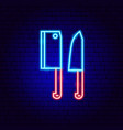 knifes neon sign vector image