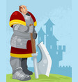 knight on a castle background vector image