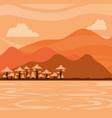 landscape mountainous with lake vector image