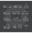 Logistics thin line icons set on dark background vector image