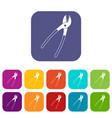 metal shears icons set flat vector image vector image