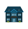 modern dark blue two-story house isolated on white vector image vector image
