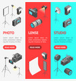 photo studio equipment signs 3d banner vecrtical vector image vector image