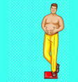 pop art fat man on floor scales vector image