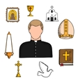 Priest profession with religious symbols vector image