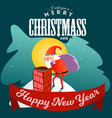 santa claus man in red suit and beard with bag of vector image vector image