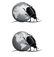 scarab and globe bw vector image vector image