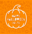 silhouette a pumpkin with halloween greeting vector image vector image