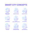 smart city gradient blue concept icons set vector image