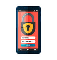 smartphone with security lock systemmobile phone vector image