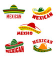 Sombrero icons mexican cuisine restaurant vector image