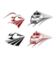 Stylized speeding train or subway icons vector image