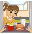 teenager girl with fast food meals vector image vector image