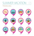 Traveling pin map icon set Summer Vacation vector image vector image