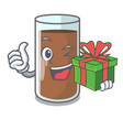 with gift fresh chocolate splash on pouring mascot vector image vector image