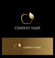 gold apple fruit organic logo vector image
