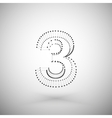 Three dimensional mesh stylish number on white vector image