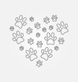 heart with dog paw prints outline vector image