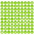100 business career icons set green circle vector image vector image