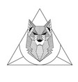 abstract geometry wolf design tattoo triangle back vector image