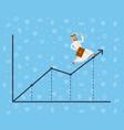 arabian businessman running along growth graph vector image vector image