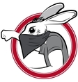 badge with protestor man rabbit vector image vector image