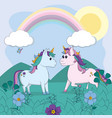 beautiful and magic unicorn cartoon vector image vector image