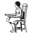 blind girl reading braille sitting vintage vector image vector image