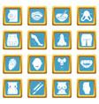 body parts icons set sapphirine square vector image vector image