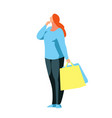 buyer stands in a reverie with bags in hands vector image vector image