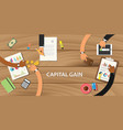 capital gain concept with team work together with vector image