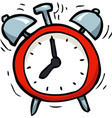 cartoon doodle alarm clock vector image vector image
