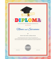 Colorful school kid diploma certificate template vector image