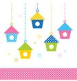 Cute spring colorful Bird houses set vector image vector image