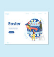 easter landing page web site template with cartoon vector image vector image