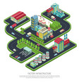 factory infrastructure isometric composition vector image vector image