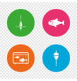 fishing icons fish with fishermen hook symbol vector image