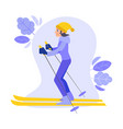 flat girl goggles skiing outdoors in winter vector image vector image