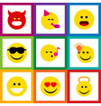 flat icon face set of angel party time emoticon vector image vector image