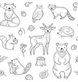 forest animals seamless pattern fox owl raccoon vector image vector image