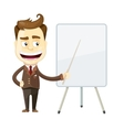 funny cartoon businessman presenting or showing vector image