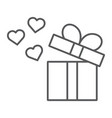gift thin line icon love and package gift box vector image vector image