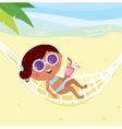 girl lying in hammock vector image vector image