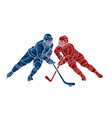 group ice hockey players action cartoon sport vector image vector image