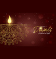 happy diwali light festival card gold hindu candle vector image vector image