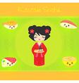 kawaii cute sushi set vector image