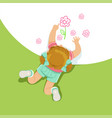 little girl lying on her stomach and painting vector image vector image