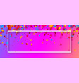 pink festive banner with colorful confetti vector image vector image